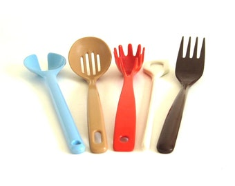 Melamine Kitchen Utensils Copco Brown Fork 652, Spaghetti Claw, Melamine Ware Stir Stick, Ekco Taiwan Melamine Slotted Spoon Plastic
