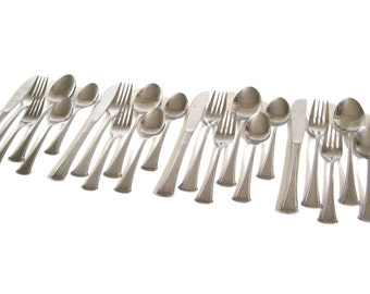 Stainless Flatware Set Silverware 24 pc Service for 4 Stainless Steel Japan Scroll Handle Design