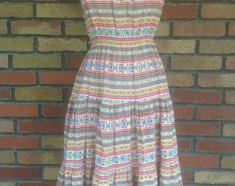 Vintage 1970s Mexican style peasant dress