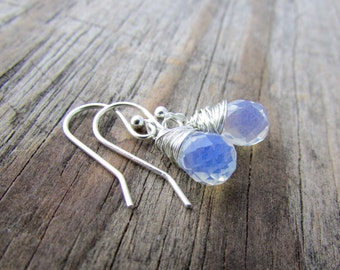 Opalite Earrings, small, faceted, wire wrapped opalite drops