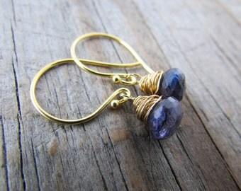 Labradorite Earrings, gold earrings with blue labradorite, spectrolite wire wrapped