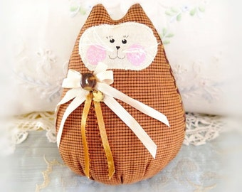Cat  Doll 6 in. Free Standing Kitty, Autumn Fall Halloween Soft Sculpture Doll Primitive Handmade CharlotteStyle Decorative