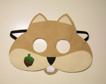 Chipmunk felt mask - brown - childrens animal costume - handmade gift for boys girls - soft dress up play accessory - Theatre roleplay