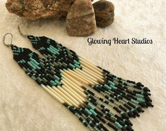 Tribal Quill Earrings - turquoise black long shoulder duster native North American porcupine quills