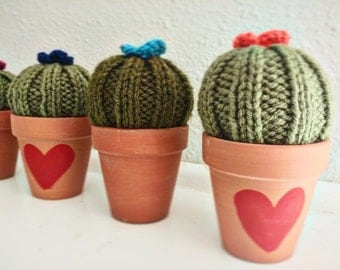 Hand knit potted cactus - with or without red heart.  Gift for non - gardener!  Wedding favor, office decor, dorm plant, pin cushion.