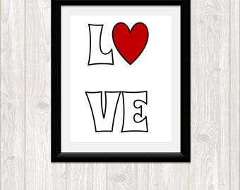 Love Typography Minimal Art Print Heart Print 8 x 10 Pdf Printable Downloadable Print Your Own Typography Minimal Valentine's Day Print