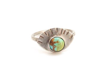 Turquoise evil eye ring with tiny fans, sunrise rise, third eye, American turquoise, sterling silver, boho chic