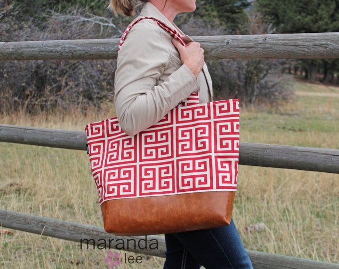 SALE Extra Large Lulu Tote - Aztec Red  - READY to SHIp