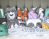 Pillow Plushie 3 Pack- Decorative Pillows - Bear Plushie- Throw Pillow - Nursery Decor - Bear Pillow-Monochrome Pillow - Teepee-Tiger
