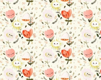 Straight Crib Skirt Happy Flowers - Floral Crib Bedding - Baby Bedding- Crib Skirt- Bed Skirt - Floral Crib Skirt -Girl Crib Skirt