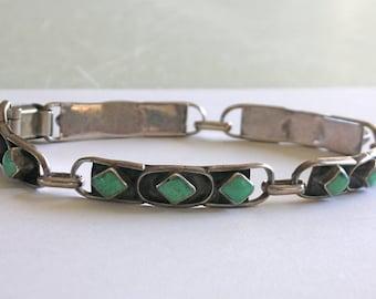 Turquoise Silver Link Bracelet Sterling Silver Zuni Hinged Link Bracelet Ladies Green Turquoise Pawn Bracelet Signed RxXX FrEE US ShIP