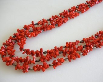 Vintage Red Coral Necklace Boho Style Native American 3 strands Genuine Mediterranean Branch Red Coral Sterling Native American FREE US SHIP