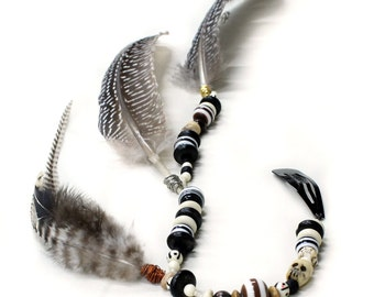 Tribal Feather Extension Clip - Jack Sparrow Style long beaded strand, hair jewelry, Bone beads hairpiece, Hippie festival fashion