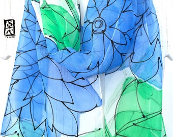 Silk Scarf Hand Painted, Blue and Green Scarf, Chiffon Scarf, Summer Green and Blue Gelato Floral Scarf, Silk Scarves Takuyo, 1 1x60 inches