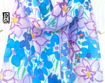 Hand Painted Silk Scarf, Blue Silk Scarf, Mothers Day Gift, Pastel Purple and Blue Wildflowers Scarf, Silk Scarves Takuyo, 11x60 inches.