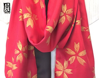 Silk Scarf Hand Painted, Red and Black Scarf, Red and Gold Scarf, Sakura Kimono Scarf, ETSY ASAP, Large Reversible Scarf, 14x72 inches.