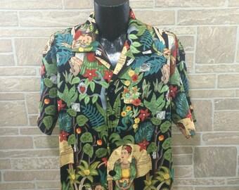 Frida Kahlo Hawaiian shirt, Frida shirt, Monkey shirt, Mexican theme shirt, Day of the dead shirt, Party shirt, Frida Kahlo lover shirt