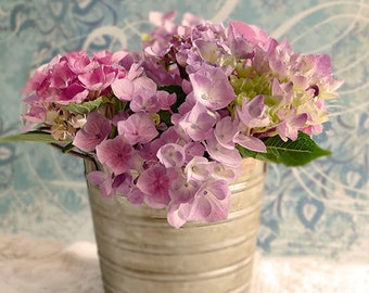 Vintage Purple Hydrangea Photography, Flower Photo, Botanical