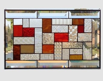 Beveled stained glass window panel amber geometric stained glass panel window hanging clear abstract 0084 18 1/4 x 11 1/4
