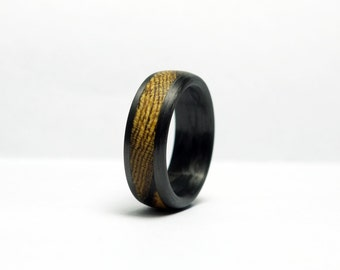 Wood and Carbon Fiber Ring - Mexican Bocote Wood