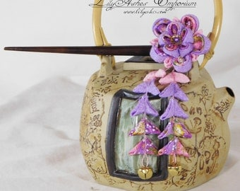 Purple Print with Pink and Purple and Gold Accents Double Sakura Hair Stick Tsumami Kanzashi