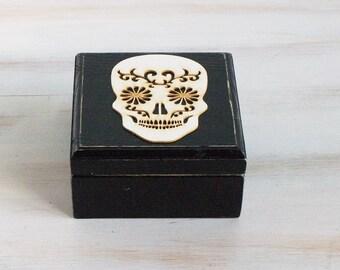 Halloween Wedding Box Mexican Skull Ring Box Ring Bearer Box Black Wedding Ring Box Engagement Ring Box Ring Holder Day of the Dead Ring Box