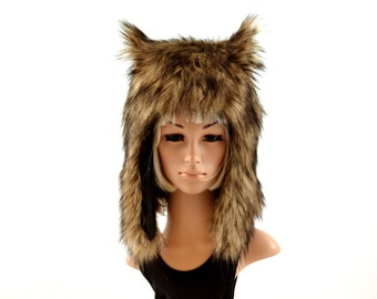Brown Wolf  Hat Faux Fur Animal Hat Werewolf