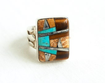 Turquoise Tigers Eye Biker Ring Native American Signed Sterling Silver Size 6 .5 Vintage Southwestern Jewelry Unisex Ring