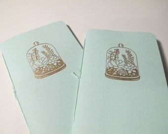 Terrarium Pocket Notebooks: Set of Two Mint Green and Gold Embossed Small Journals Cahier