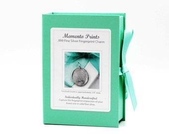 Gift For Mom Personalized Jewelry Fingerprint Charm Custom made keepsake .999 Fine Silver for Bracelet, Pendant, Necklace