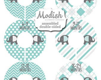 Closet Dividers, Assembled, Baby Closet Dividers, Closet Organizers, Boy, Elephant Nursery Decor, Elephants Blue Teal Gray, Baby Shower Gift