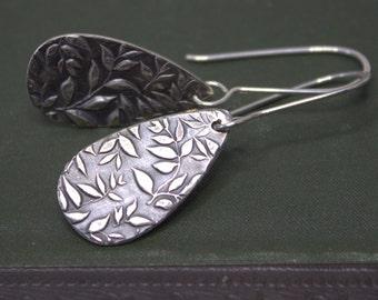 Fine Silver Leaf Earrings, Silver Tear Drop Earrings, Botanical Fine Silver Jewelry, Woodland Nature Oxidized Silver Earrings Jewelry
