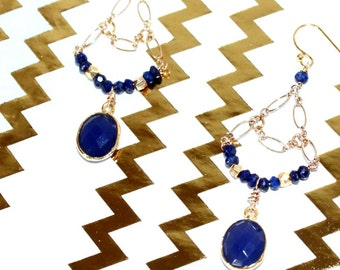 Faceted Blue Lapis and Chalcedony Bezeled 14k gold Gemstone Chandalier Earrings