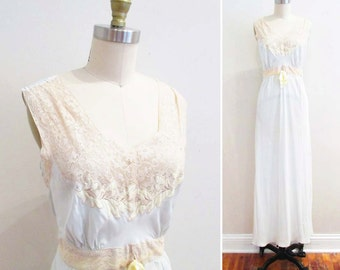 Vintage 1940s Nightgown | Palest Blue and Yellow Ercu Lace 40s Bias Cut Nightgown | size small - medium