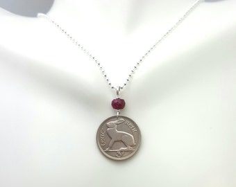 Year of the Rabbit - 1963 Rabbit Coin necklace - vintage Ireland hare 3 pence coin - birthday necklace - zodiac birthday necklace - Ireland