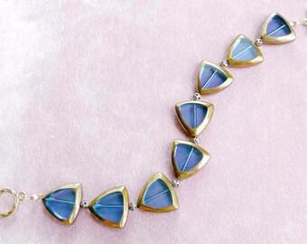 Blue Lucite Bracelet Translucent Gold Edged Unusual Vintage