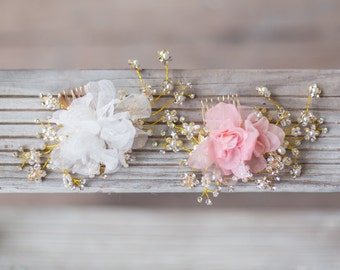 Gold Crystal Headpiece, Ivory Organza Flower Bridal Comb, Wedding Hair Accessories, Blush Flower Headpiece, Gold Bridal Hair Accessories