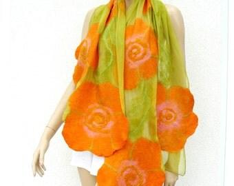 Nuno felted shawl - flowers scarf - wool and silk - green and orange felt shawl