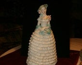 """Reserved for Barbie Colonial Lady Figurine, Pastels, 10""""H, Pottery, Handmade Signed HEDRICK 1955"""