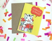 Welsh Text Christmas Nadolig Llawen Retro Yellow Kitty Cat Eco Friendly Greeting Card