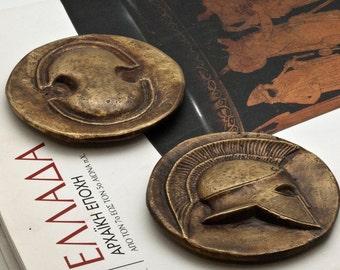 Greek Ancient Coin Paperweight, Bronze Paperweight, Corinthian Helmet and Boeotian Shield, Museum Replica, Ancient Greece Office Desk Decor