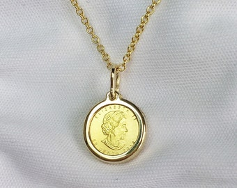 Pure Gold 1 gram Maplegram Royal Canadian Mint Coin Pendant Necklace | ready to ship!