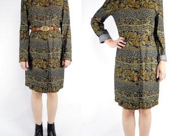 HOLIDAY SALE 1980's animal print sheath dress / vintage black and brown floral print rayon dress / long sleeve dress / size 6