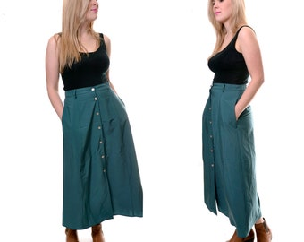 HOLIDAY SALE 1980s ballerina length a line skirt / green teal TravelSmith long skirt / flowy vintage skirt buttons / size medium