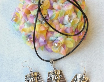 Egyptian Jewelry. Pharaoh Set of Necklace and Earrings. Fast Shipping from USA