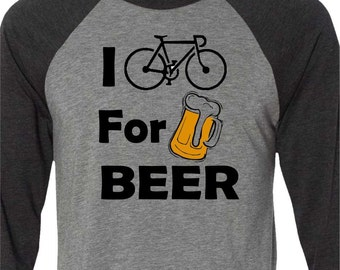 Bicycle T-shirt-I BIKE for BEER-Road Bike T-shirt,Cycling tshirt, bike gift, gift for cyclists, baseball bicycle t-shirt-grey-Father's Day