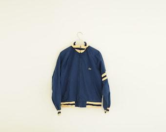 Vintage IZOD Lacoste Navy Blue & Beige Jacket, Size Medium