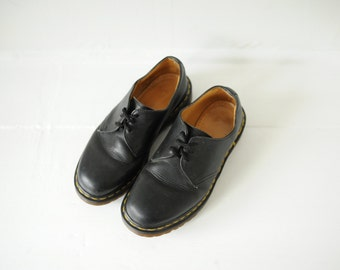 Vintage Dr. Martens Black Leather Oxford Shoes, Made in England, Womens UK 6, US 8