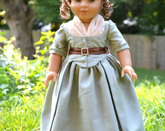 Doll Dress Colonial Gown for American Girl Felicity Elizabeth Summer Blue Dress