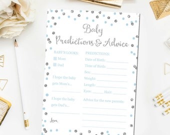 Baby Predictions and Advice Blue Silver Baby Shower Games, Baby Shower Games Glitter Confetti Blue Printable Instant Download BB9